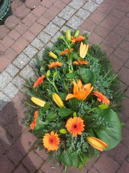 Wiązanka pogrzebowa lilia i gerbera pomarańczowa