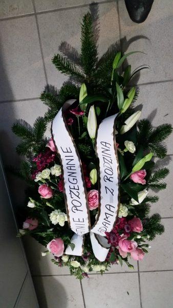 Wiązanka pogrzebowa różowa