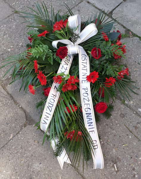 Wiązanka pogrzebowa z róż i gerber