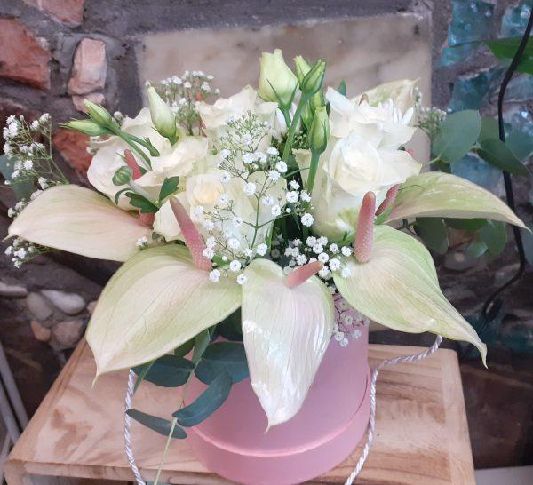 Flower box z anturium różowego