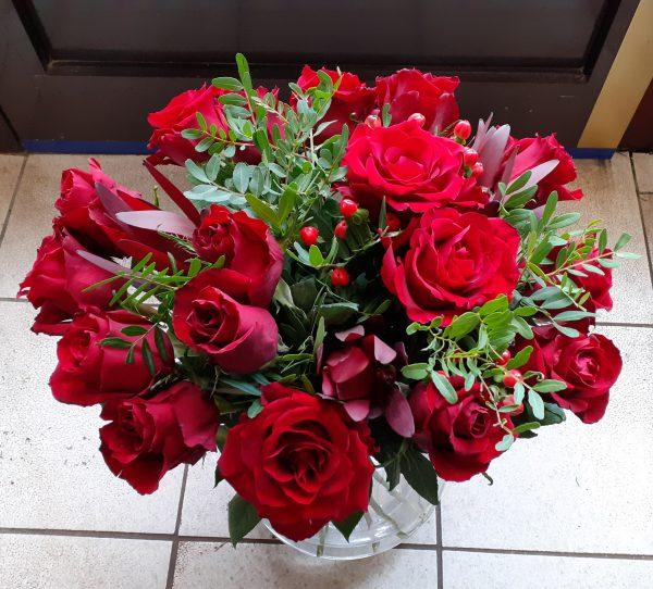 Bukiet z 18 czerwonych róż