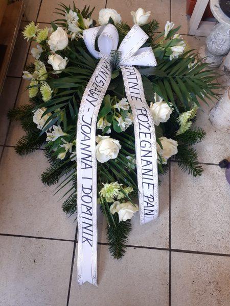 Wiązanka pogrzebowa biało kremowa